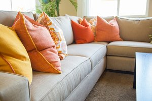 Abstract of Inviting Colorful Couch