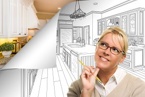 Woman, Kitchen Drawing Page Turning