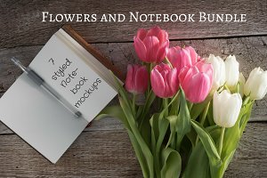 Notebook Mockup with Summer Flowers