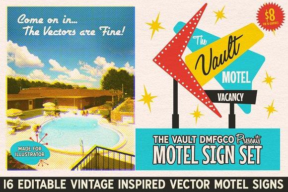Vintage Motel Sign Set