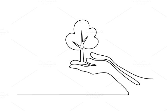 Hands Palms Together With Tree
