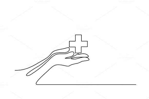 Hands Palms Together With Medical Cross