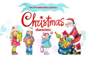 Watercolour 4 Christmas characters