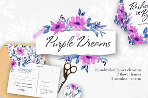 Purple Dreams-Flower Watercolor Set