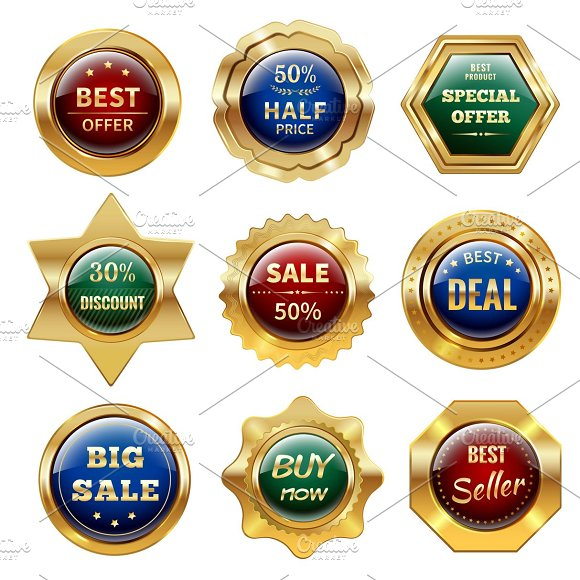 Golden Sale Labels Set