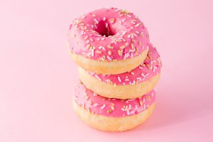 Stack of pink donuts