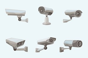 Surveillance camera realistic icons