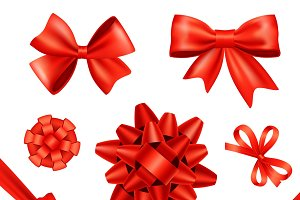Red silk gift bows and ribbons set
