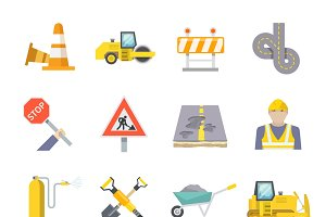 Road worker flat icons set