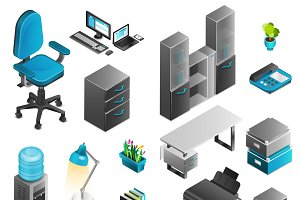 Office interior isometric icons set