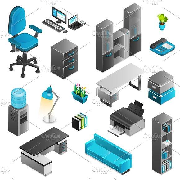 Office Interior Isometric Icons Set