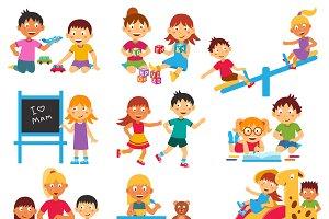 Kindergarten flat icons set