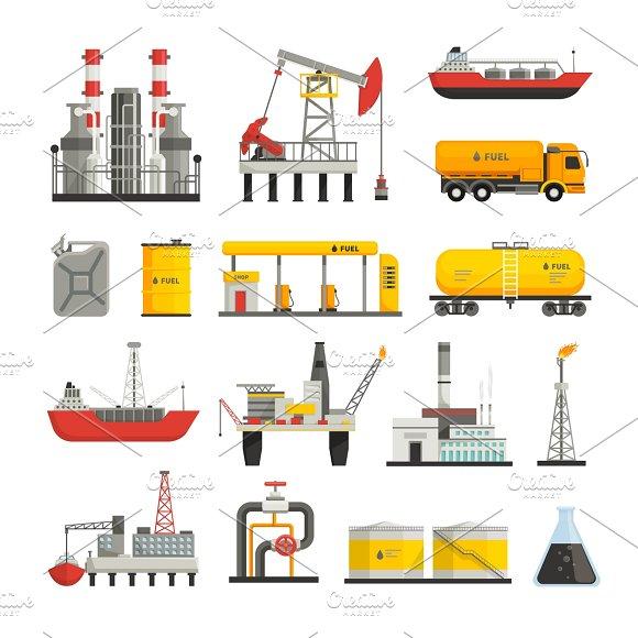 Oil Petrol Industry Flat Icons Set