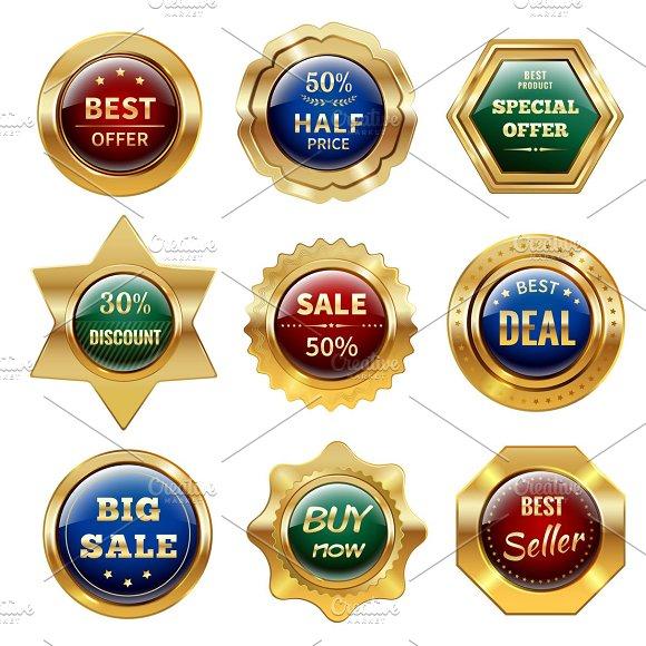Golden Sale Labels Set