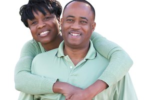 African American Couple on White