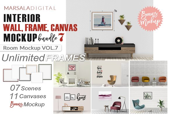 Room Mockup Wall And Frame Bundle 7