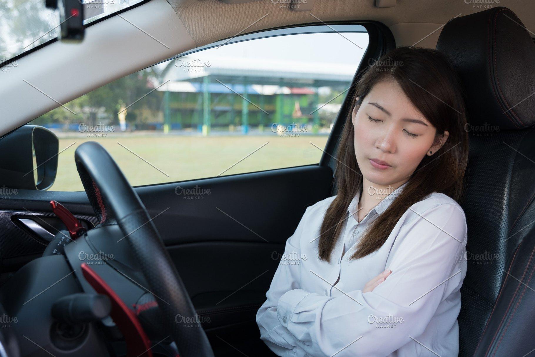 Sleeping In Car >> Woman Sleep In Car People Photos Creative Market