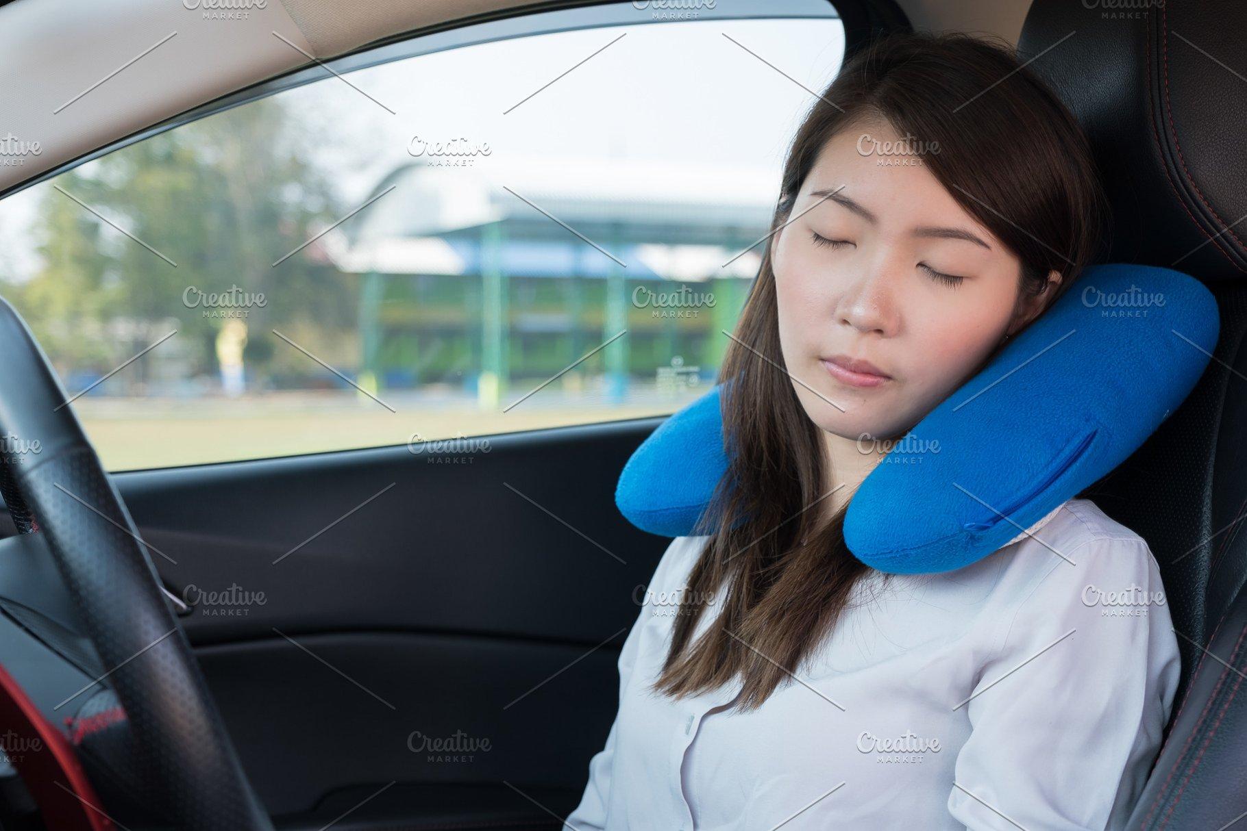 Sleeping In Car >> Young Woman Sleeping In Car People Photos Creative Market