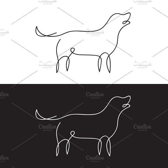 Vector Of Line Design Of Dog Pet