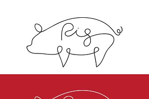 Vector of line design of pig. Animal