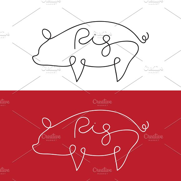 Vector Of Line Design Of Pig Animal