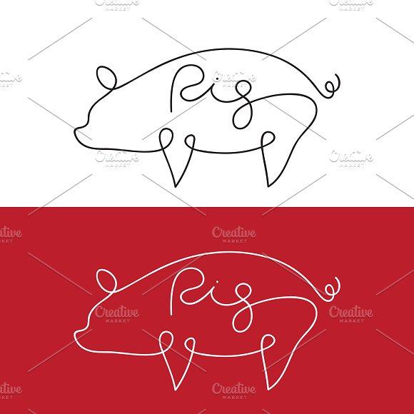 Vector Of Line Design Of Pig Animal