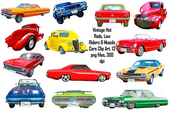 HOT RODS,LOW RIDERS,MUSCLE CARS in Illustrations