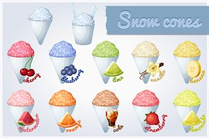 Snow cones with different flavors