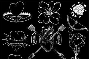 Drawing illustration set of love