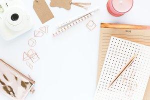 Rose Gold & White Desk Scene