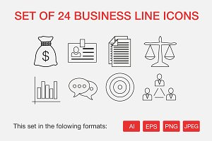 Set of 24 business line icons