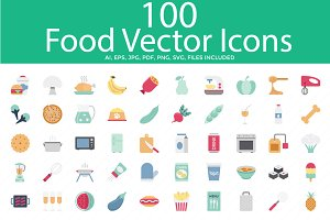 Food Color Vector Icons Set