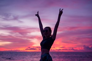 freedom happiness girl sunset