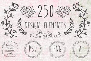 250 Handsketched Design Elements