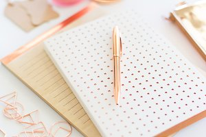 Stock Photo - Rose Gold Desk Scene
