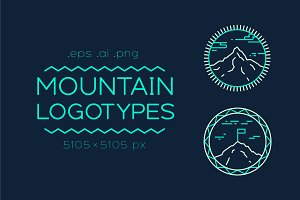 Set of logotypes with mountains