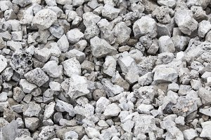 Crushed stone, pile of stones. Gray