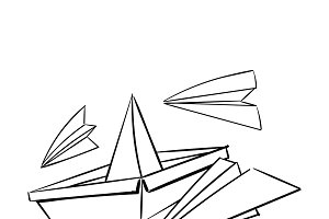 Illustration of paper plane and boat