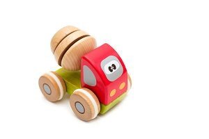 Wooden toy car. Isolated objects