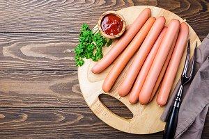 Raw frankfurter sausages