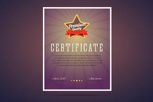 Premium quality certificate.