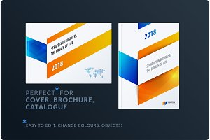 Abstract brochure design set, modern annual report, horizontal cover, flyer in A4 with colourful arrows