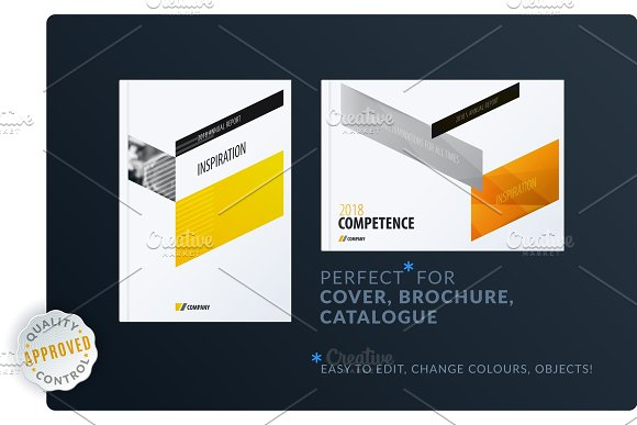 Abstract Brochure Design Set Modern Annual Report Horizontal Cover Flyer In A4 With Colourful Arrows