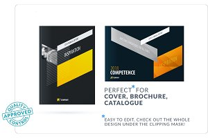 Creative design of business brochure set, abstract horizontal cover layout, flyer in A4 with colourful arrows