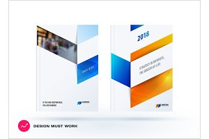 Business set of design brochure, abstract annual report, horizontal cover flyer in A4 with colourful arrows
