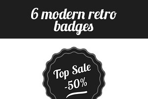 Modern Retro/Vintage Badges Set