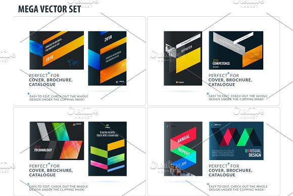 Business Set Of Design Brochure Abstract Annual Report Horizontal Cover Flyer In A4 With Colourful Arrows
