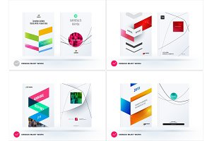 Business set of design brochure, abstract annual report, horizontal cover flyer in A4 with colourful arrows diagonal shape for branding, advertisement. Minimal vector presentation template.