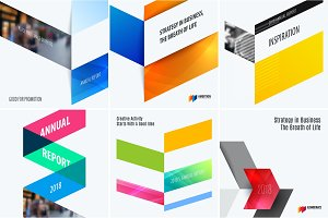 Set of abstract vector design for graphic template. Creative modern business background.