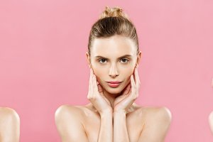 Beauty Concept Set - Beautiful Caucasian woman with clean skin, natural make-up isolated on bright pink background with copy space.